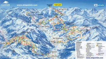 Busreisen nach Gasteiner Tal - Skigebietsplan