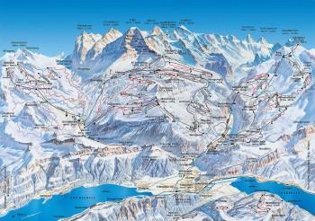 Pistenplan für Jungfrau-Skiregion