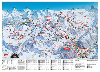 Pistenplan für Silvretta Arena: Ischgl - Samnaun