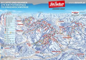 Pistenplan für Skiwelt Wilder Kaiser - Brixental